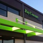 Poly Concepts is a lime green and brown building made of autoclaved aerated concrete
